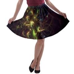 Fractal Flame Light Energy A Line Skater Skirt