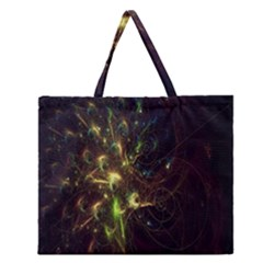 Fractal Flame Light Energy Zipper Large Tote Bag