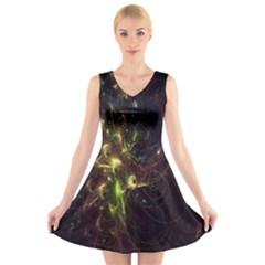Fractal Flame Light Energy V Neck Sleeveless Skater Dress