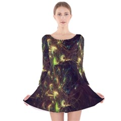 Fractal Flame Light Energy Long Sleeve Velvet Skater Dress