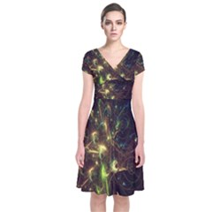 Fractal Flame Light Energy Short Sleeve Front Wrap Dress