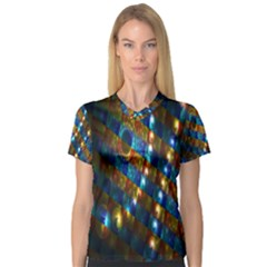 Fractal Digital Art Women s V-Neck Sport Mesh Tee