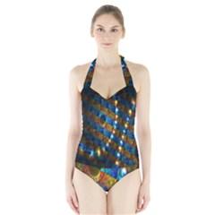 Fractal Digital Art Halter Swimsuit