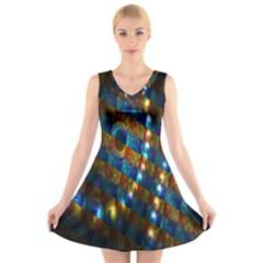 Fractal Digital Art V Neck Sleeveless Skater Dress