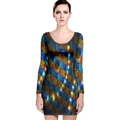 Fractal Digital Art Long Sleeve Velvet Bodycon Dress