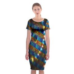 Fractal Digital Art Classic Short Sleeve Midi Dress