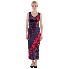 Fractal Fractal Art Digital Art Fitted Maxi Dress