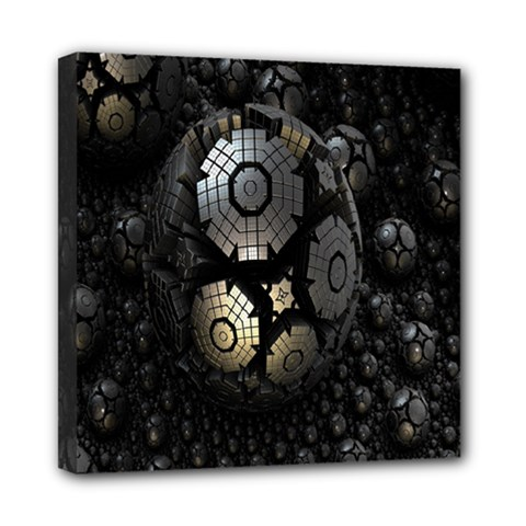 Fractal Sphere Steel 3d Structures Mini Canvas 8  x 8