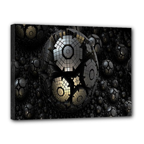 Fractal Sphere Steel 3d Structures Canvas 16  x 12