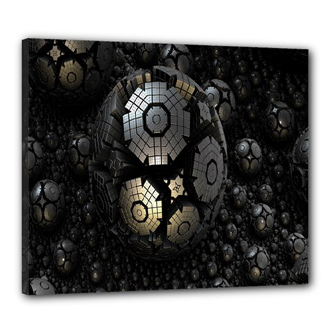 Fractal Sphere Steel 3d Structures Canvas 24  x 20