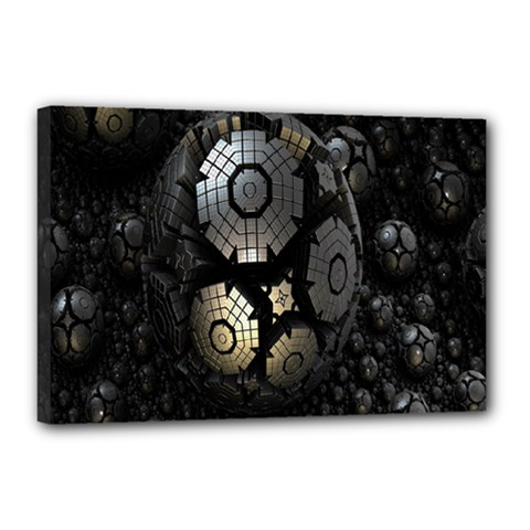 Fractal Sphere Steel 3d Structures Canvas 18  X 12