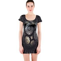 Fractal Sphere Steel 3d Structures Short Sleeve Bodycon Dress