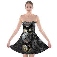 Fractal Sphere Steel 3d Structures Strapless Bra Top Dress