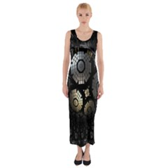Fractal Sphere Steel 3d Structures Fitted Maxi Dress