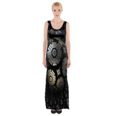 Fractal Sphere Steel 3d Structures Maxi Thigh Split Dress