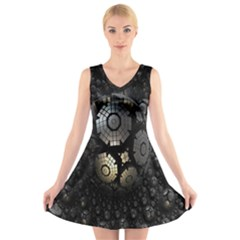 Fractal Sphere Steel 3d Structures V-Neck Sleeveless Skater Dress