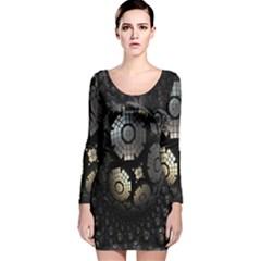 Fractal Sphere Steel 3d Structures Long Sleeve Velvet Bodycon Dress
