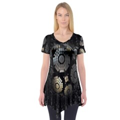 Fractal Sphere Steel 3d Structures Short Sleeve Tunic