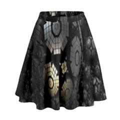 Fractal Sphere Steel 3d Structures High Waist Skirt