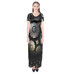 Fractal Sphere Steel 3d Structures Short Sleeve Maxi Dress