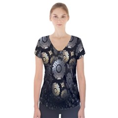Fractal Sphere Steel 3d Structures Short Sleeve Front Detail Top