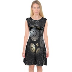 Fractal Sphere Steel 3d Structures Capsleeve Midi Dress