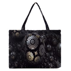 Fractal Sphere Steel 3d Structures Medium Zipper Tote Bag