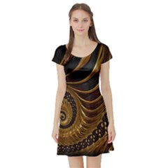 Fractal Spiral Endless Mathematics Short Sleeve Skater Dress