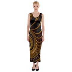 Fractal Spiral Endless Mathematics Fitted Maxi Dress