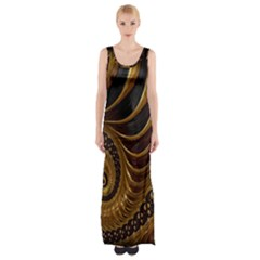 Fractal Spiral Endless Mathematics Maxi Thigh Split Dress