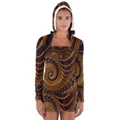Fractal Spiral Endless Mathematics Women s Long Sleeve Hooded T-shirt