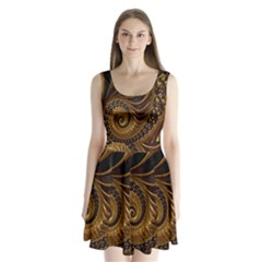 Fractal Spiral Endless Mathematics Split Back Mini Dress