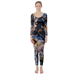 Frost Leaves Winter Park Morning Long Sleeve Catsuit