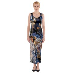 Frost Leaves Winter Park Morning Fitted Maxi Dress