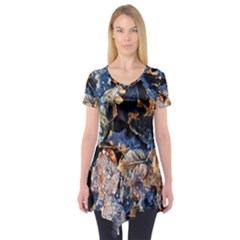 Frost Leaves Winter Park Morning Short Sleeve Tunic