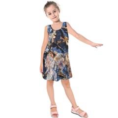 Frost Leaves Winter Park Morning Kids  Sleeveless Dress