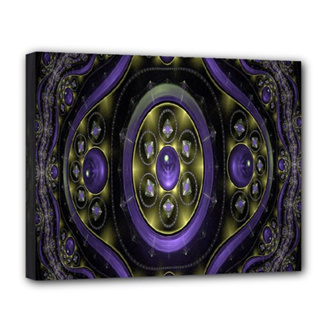 Fractal Sparkling Purple Abstract Canvas 14  x 11