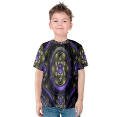 Fractal Sparkling Purple Abstract Kids  Cotton Tee