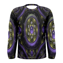 Fractal Sparkling Purple Abstract Men s Long Sleeve Tee