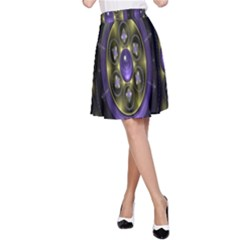 Fractal Sparkling Purple Abstract A Line Skirt