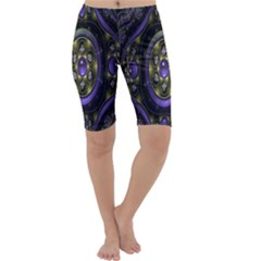 Fractal Sparkling Purple Abstract Cropped Leggings