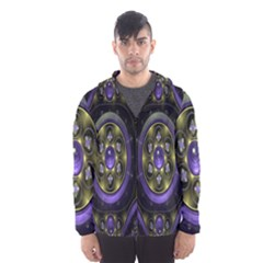 Fractal Sparkling Purple Abstract Hooded Wind Breaker (men)