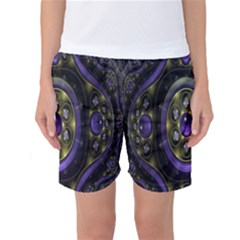 Fractal Sparkling Purple Abstract Women s Basketball Shorts