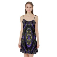 Fractal Sparkling Purple Abstract Satin Night Slip