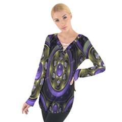 Fractal Sparkling Purple Abstract Women s Tie Up Tee
