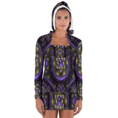 Fractal Sparkling Purple Abstract Women s Long Sleeve Hooded T-shirt