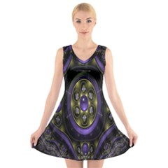 Fractal Sparkling Purple Abstract V Neck Sleeveless Skater Dress