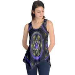 Fractal Sparkling Purple Abstract Sleeveless Tunic