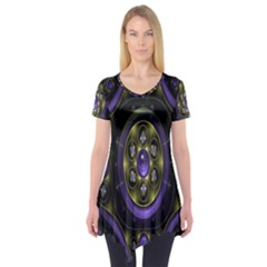 Fractal Sparkling Purple Abstract Short Sleeve Tunic