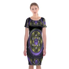 Fractal Sparkling Purple Abstract Classic Short Sleeve Midi Dress